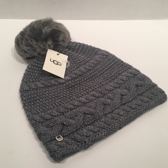 UGG Other - UGG Knitted Pom Pom Grey Knitted Beanie